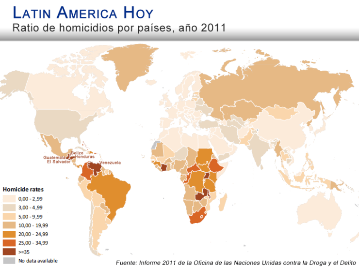 Mapa homicidios America Latina