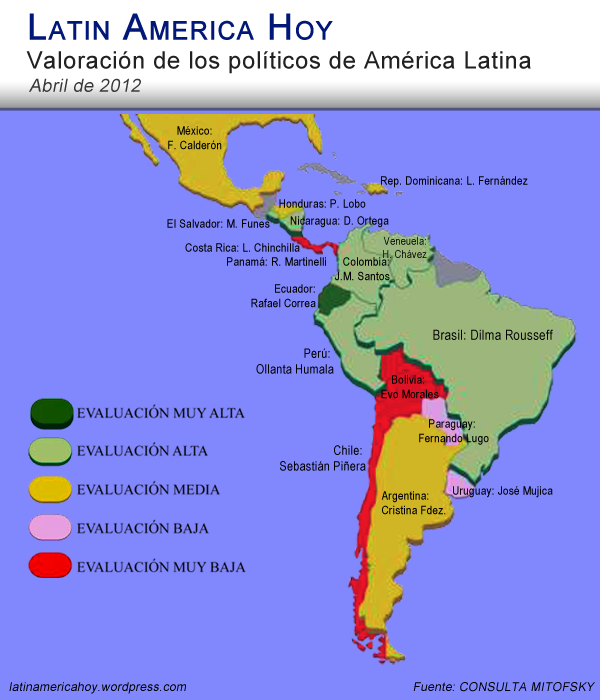 Mapa de los politicos de America Latina 2012