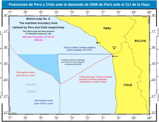 Posturas Peru y Chile ante la demanda de Peru ante el CIJ en 2008